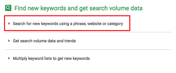 """Search for new keywords using a phrase, website, or category"" - GKP"