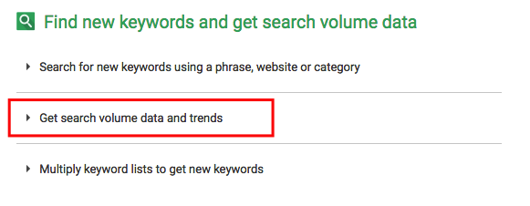 """""""search volume data and trends"""" in GKP"""